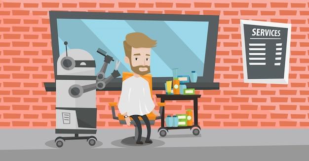 Parrucchiere robot che fa taglio di capelli per un uomo hipster.
