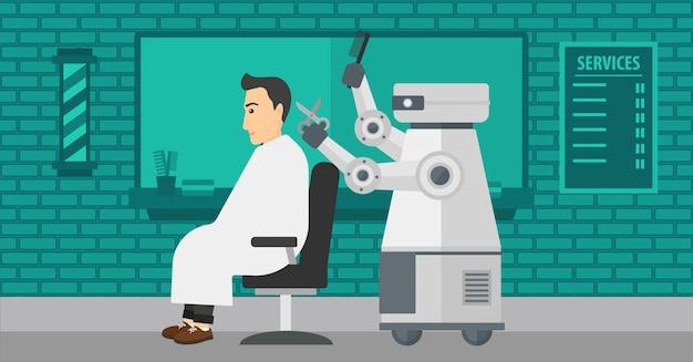 Parrucchiere robot che fa taglio di capelli per un uomo.