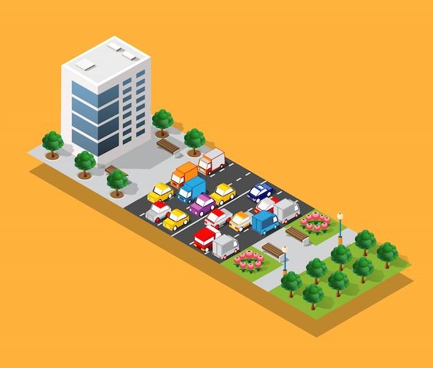 Parte isometrica del distretto del blocco di modulo 3d della città