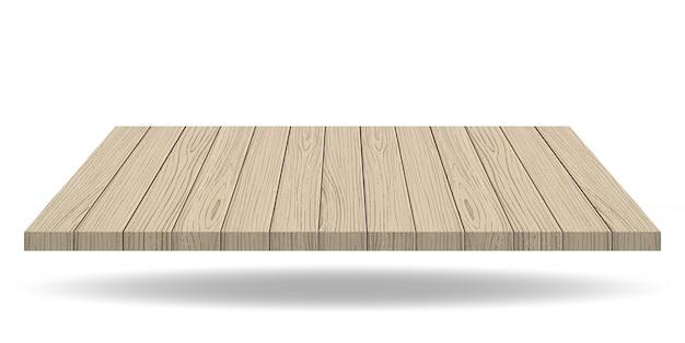 Parte superiore del bordo di presentazione in legno su sfondo bianco