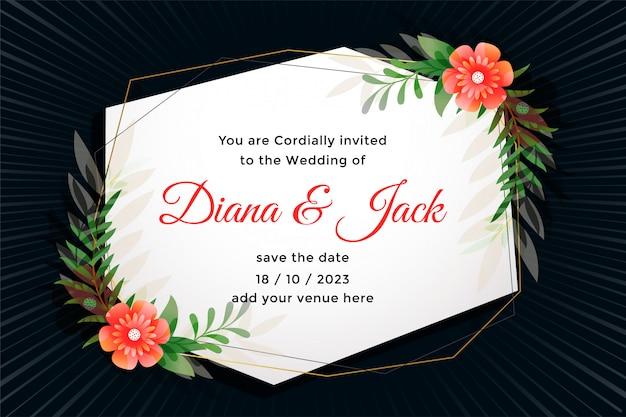 Partecipazione di nozze attraente con decorazione floreale