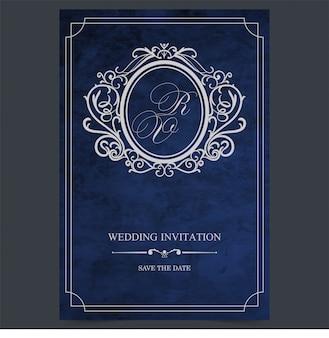 Partecipazione di nozze blu d'annata, confine dell'invito di nozze dell'annata e modello della struttura