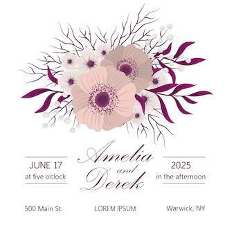 Partecipazione di nozze con fiore