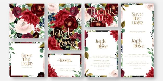 Partecipazione di nozze con fiori di borgogna e blush