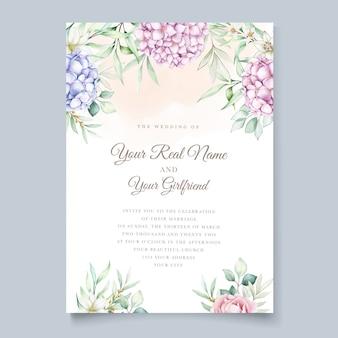 Partecipazione di nozze con i fiori dell'acquerello dell'ortensia