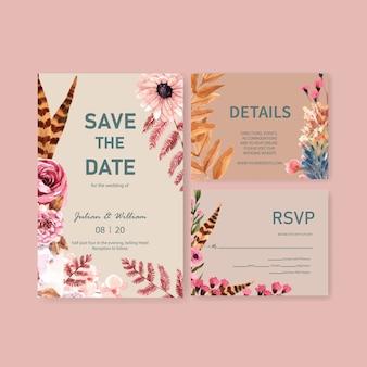 Partecipazione di nozze con progettazione di massima del fiore di autunno per l'illustrazione dell'acquerello della carta dell'invito e del modello.