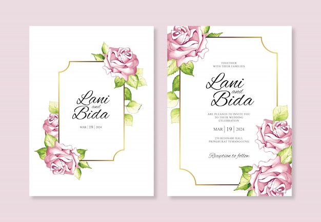 Partecipazione di nozze dell'invito del modello con la pittura dell'acquerello del fiore