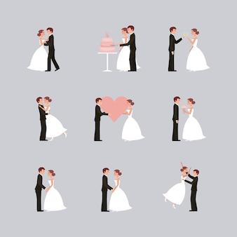 Partecipazione di nozze della sposa e dello sposo che tengono le mani in fiori del cuore
