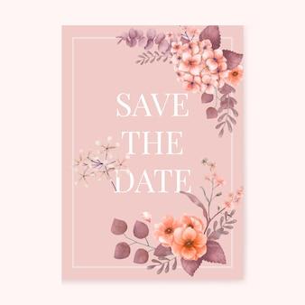 Partecipazione di nozze floreale a tema rosa