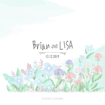 Partecipazione di nozze floreale dolce nello stile dell'acquerello.