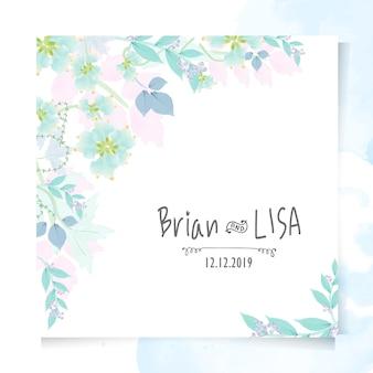 Partecipazione di nozze floreale vintage in stile acquerello.