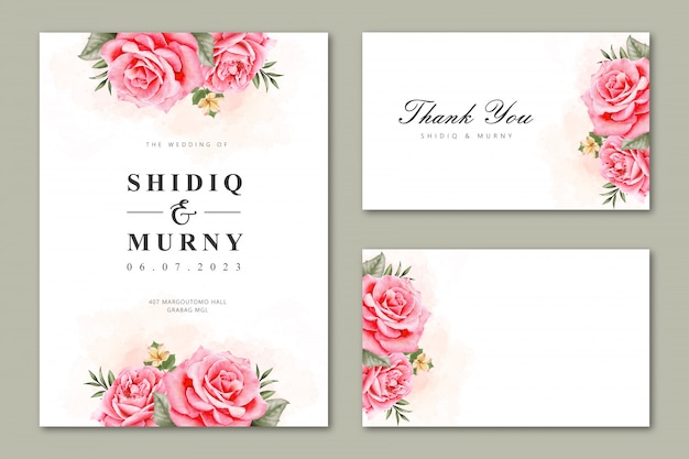 Partecipazione di nozze impostata con acquerello floreale