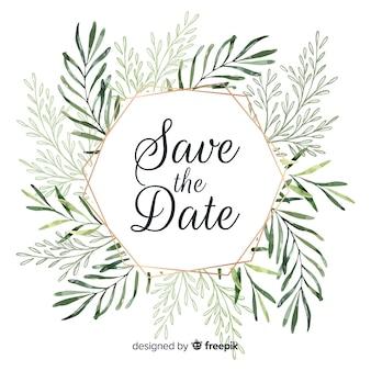 Partecipazione di nozze moderna con foglie di acquerello
