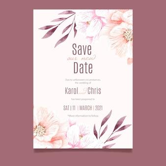 Partecipazione di nozze posposta ad acquerello
