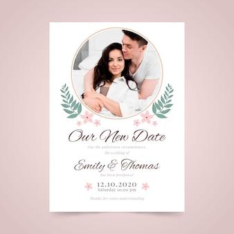 Partecipazione di nozze posposta con foto
