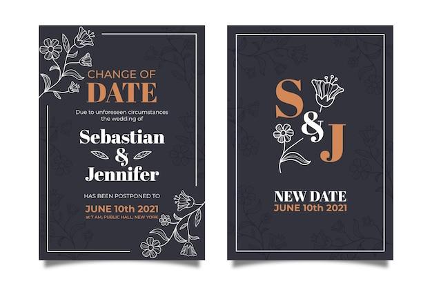 Partecipazione di nozze posposta disegnata a mano