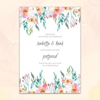 Partecipazione di nozze rinviata stile acquerello
