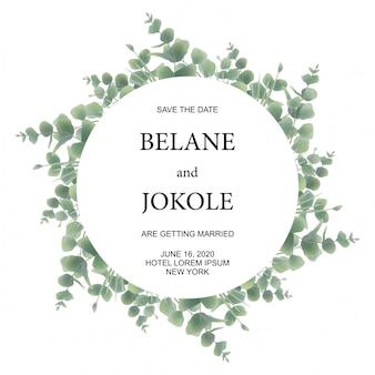 Partecipazioni di nozze con cornici di foglie di eucalipto