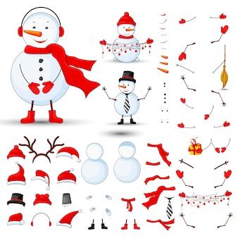 Parti del corpo di pupazzi di neve, trasformatore impostato su uno sfondo bianco isolato
