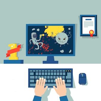 Parti di computer professionali per la riproduzione di videogiochi di virus, illustrazione. proprietario del dispositivo elettronico impegnato in e-sport, gioco d'azione