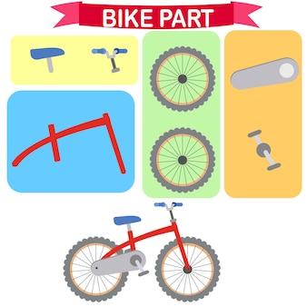 Parti di illustrazione vettoriale bici