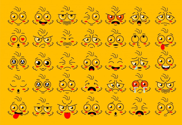 Parti di occhi faccia buffa con espressioni di emozione