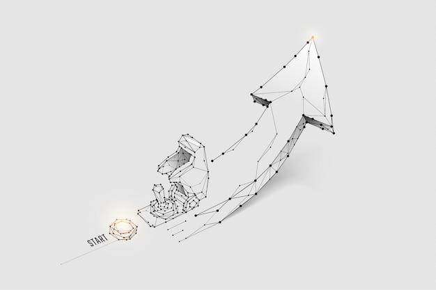 Particelle, arte geometrica, linea e punto dell'interruttore missilistico.