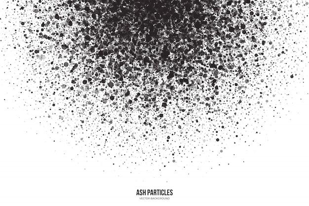 Particelle di frassino grigio scuro su sfondo bianco