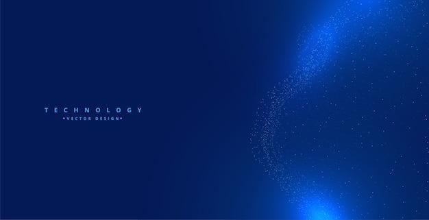 Particelle di tecnologia blu incandescente sfondo digitale design