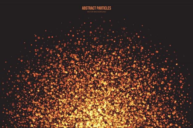 Particelle luminose brillanti dorate di sfondo astratto di vettore