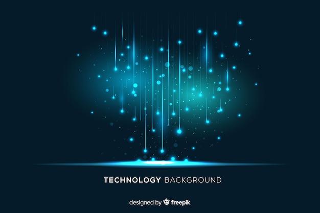 Particelle luminose tecnologiche che cadono sullo sfondo