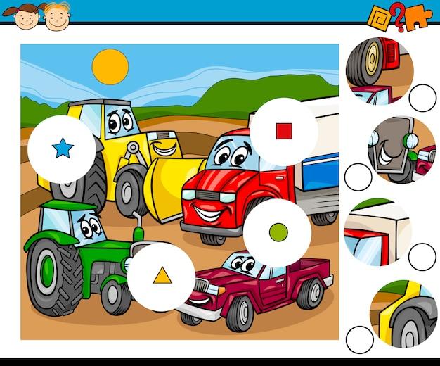 Partita cartone animato di pezzi di gioco