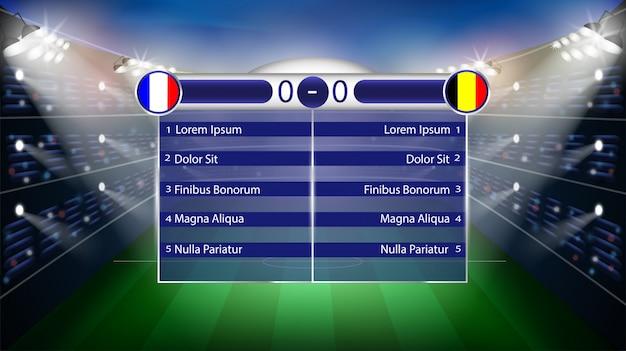 Partita di calcio. fondo di vettore dello stadio 3d di campionato del mondo. modello di tabella poster di calcio.