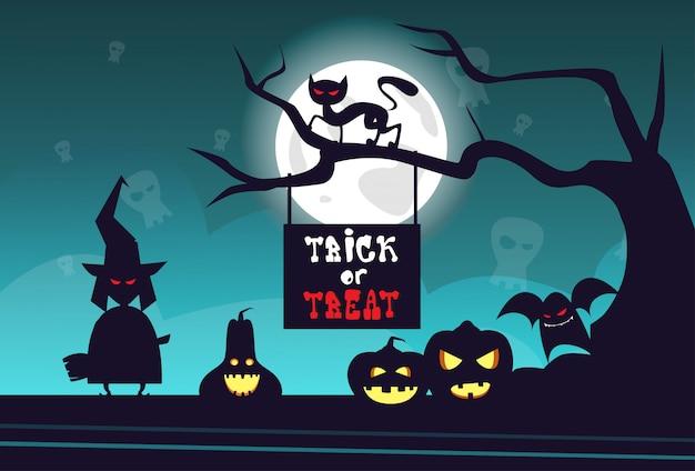 Partito felice di orrore della cartolina d'auguri di concetto di scherzetto o dolcetto di halloween
