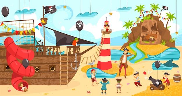 Partito pirata per compleanno di bambini, bambini felici che giocano divertente gioco, illustrazione