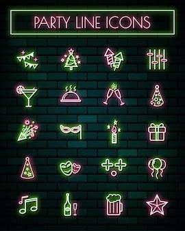 Partito sottile linea neon incandescente icone impostate