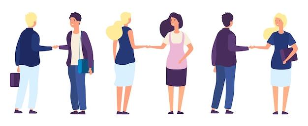Partner commerciali che agitano le mani