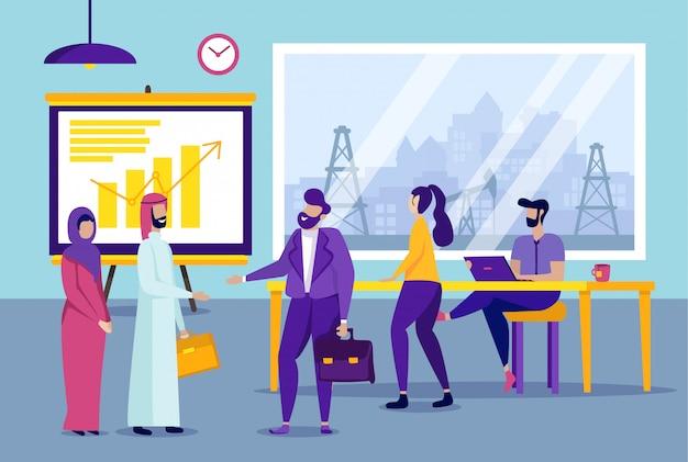 Partner commerciali multinazionali in ufficio