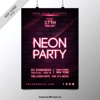 Party poster neon