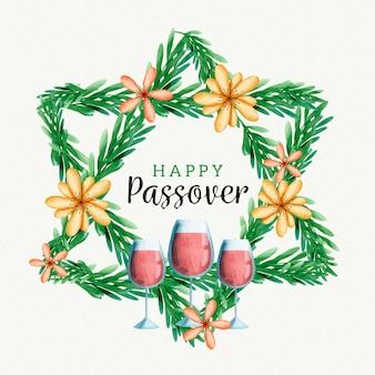 Pasqua dell'acquerello e bicchieri di vino