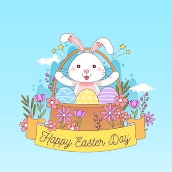 Pasqua disegnata a mano con il coniglietto in cestino floreale