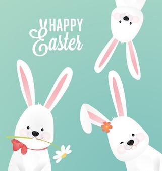 Pasqua sfondo carino con tre coniglio
