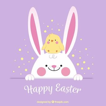 Pasqua sfondo sveglia con il pulcino e coniglio