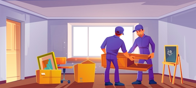 Passa al nuovo concetto di casa. caricatori che portano mobili e scatole in camera.
