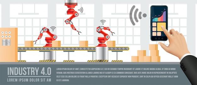 Passa alla fabbrica e all'industria in futuro. persone che si connettono con una fabbrica tramite smartphone e scambiano dati con una rete neurale, intelligenza artificiale.