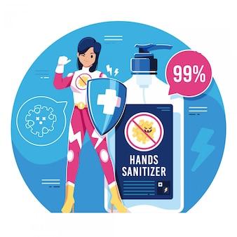 Passa l'illustrazione del prodotto disinfettante con il carattere della ragazza