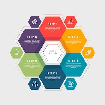 Passaggi di infografica affari piatta
