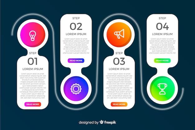 Passaggi di infografica colorato moderno