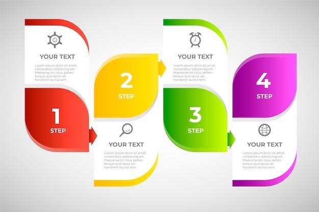 Passaggi di infografica gradiente colorato