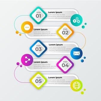Passaggi di infografica gradiente professionale